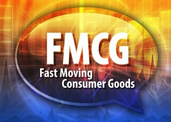 word speech bubble illustration of business acronym term FMCG Fast Moving Consumer Good