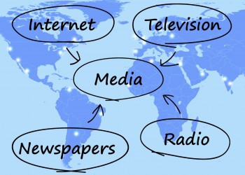 Media Diagram Shows Internet Television Newspapers And Radio